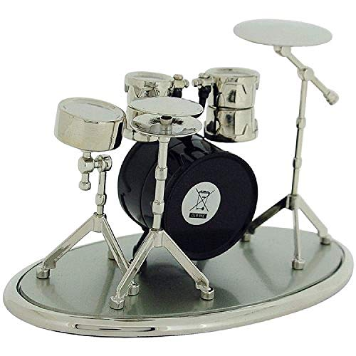 Miniatur Uhren Schlagzeug silberf. & schw. lackierte Sammleruhr 9078 - 3