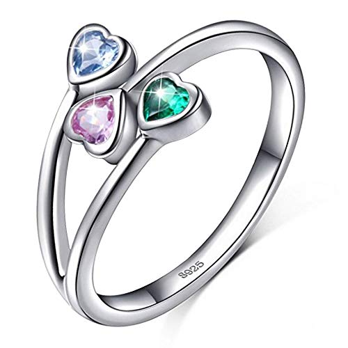 Brilliant jewels anelli donna argento 925 | anello donna regolabile con cuori in zircone verde rosa blu | regalo ideale per ragazza, anniversario, san valentino, laurea | elegante confezione bianca
