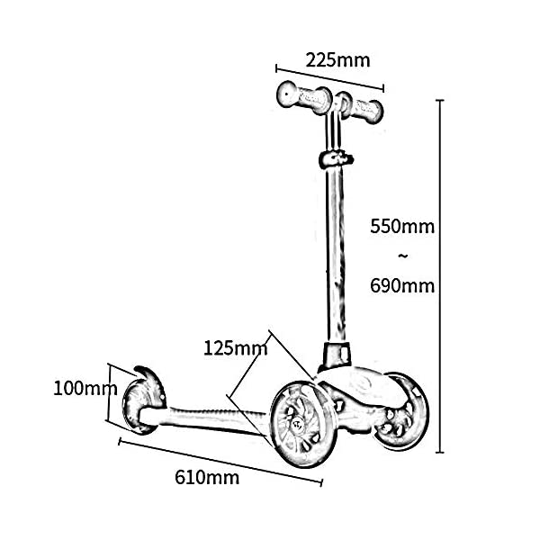 Kids 3 Wheel Kick Scooter - Perfect For Children Aged 2+ 3 Height Adjustments Children Scooters Adjustable Handles,a  ✔Material: The scooter is made of aluminum and plastic, which is light, durable and has a long service life. ✔ Height adjustment: 3 height adjustments, according to the height of the child can be adjusted 69/62/55CM, suitable for different heights, whether it is adult push or small children can play. ✔ Pedal/load bearing: widen the pedal and increase the force surface of the pedal. The super load is 50kg. 3