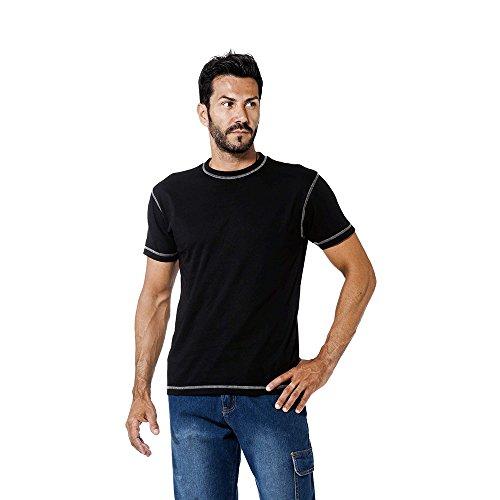 logica-spinning5-t-shirt-cotone-nero-cuciture-contrasto-grigio-chiaro-maglia-maniche-corte-girocollo