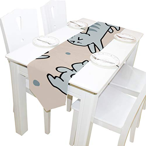 Yushg Solide Hintergrund Nette Katze Kommode Schal Tuch Abdeckung Tischläufer Tischdecke Tischset Küche Esszimmer Wohnzimmer Home Hochzeitsbankett Decor Indoor 13x90 Zoll -