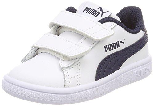 Puma Smash V2 L V Inf, Scarpe da Ginnastica Basse Unisex - Bambini, Blu White-Peacoat, 20 EU