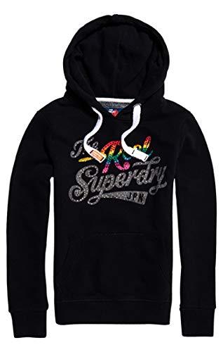 Superdry Damen Rock Rhinestone Entry Hood Pullover, Schwarz (Black 02a), Small (Herstellergröße: 10.0) -