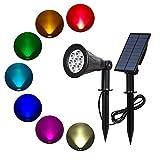 T-SUN Luci Solari Esterno, 7 LED Colori Che Cambiano Sicurezza Lampada, Wireless IP55 impermeabile Luci del Paesaggio per La Decorazione di Natale Gardino Esterno, Sentiero, Prato, Casa, Cortile, ecc.
