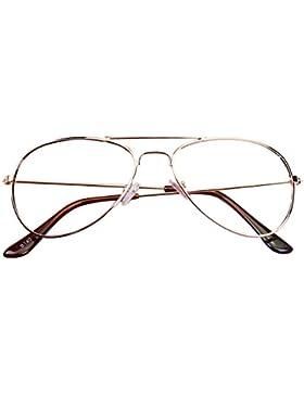 BOZEVON Niños Vidrios de la Vendimia Unisexo Metal vidrios claros de la Monturas de gafas
