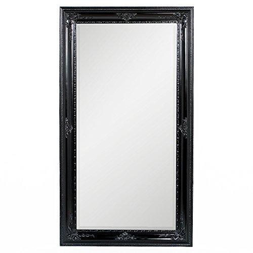 LEBENSwohnART Spiegel Eve 180x100cm Shiny-Black Barock Pompös Wandspiegel Design Holzrahmen