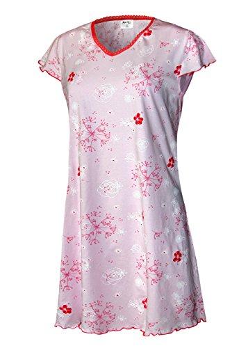 Lavazio chemise de nuit pour femme nuit schlafshirt schlafhemd pyjama pour femme 100%  coton taille s m l xL Rose