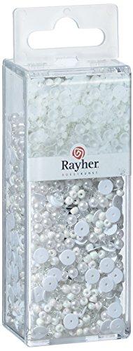 Rayher 14538701 Pailletten-/Glasperlenmix, frost, 80 g und 50 m Draht 0,3 mm ø, Bastelperlen, Rocailles, Pailletten, Wachsperlen, Fädeldraht - Vögel Serviettenhalter