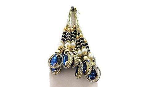 Generic Borlas Latkans Blue Rhinestone Saree Latkans Indian Latkans Big Latkans Designer Tassel Blouse Latkan-Price for a Pair-IDLA10 (Designer Bridal Sarees)