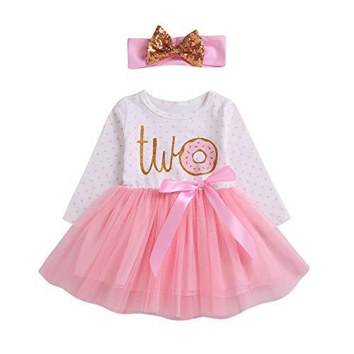 Baby Mädchen Geburtstag Party Kleid Donut Tupfendruck Tutu Kleider mit Pailletten Stirnband 2 Stücke Set Prinzessin Neugeborene Kleidung (2-3 Jahre/90, Two/Lange Ärmel) - 2 Stück Stirnband