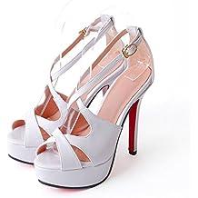 WZG tamaño de los zapatos nueva cabeza de los pescados de sujeción a prueba de agua zapatos de tacón sandalias de la cruz-correa de verano talla 33-43 , white , 33