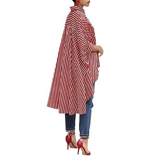 TOPKEAL Top Damen Sommer Herbst Casual Bluse mit Knopfleiste Bluse Baumwoll Streifen Shirt mit Dreiviertel Hemd 2019 Mode Tops -