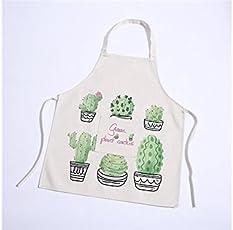 Yyanliii Spaß Kreative Damen-Karikatur-Grünpflanze-Kaktus-Blumen-Muster-Schürze mit Tasche