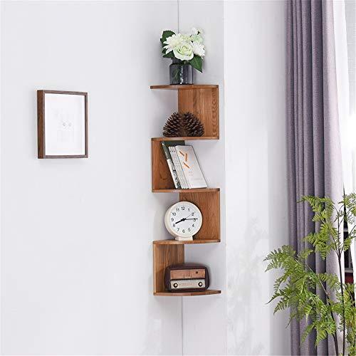 NNDQ 5 Tier Wandhalterung Eckregale Holzfarbe Finish, schwimmende Wandhalterung Eckregal Holz Display Regale Storage Organizer -