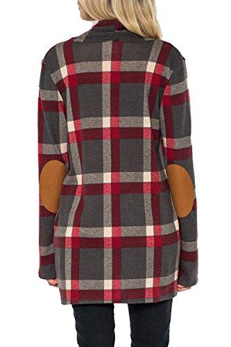 Les Femmes Outercoat Carreaux Occasionnel Poches Cardigan Veste Patchwork 3