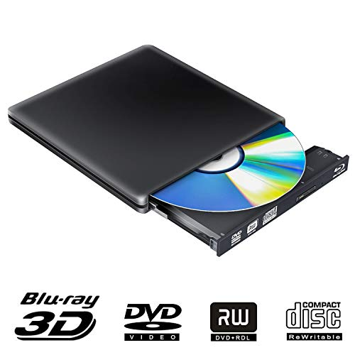 Externes Blu Ray DVD Laufwerk 3D 4K, USB 3.0 Optischer Externe Bluray Brenner DVD CD Brenner Rewriter Portable Kompatibel für MacBook Mac OS Windows 7 8 10 PC iMac