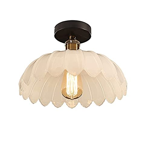 Neixy - Lotus Leaves Shape Ceiling Pendant Lamps Creative Glass Lampshade Ceiling Lights Vintage American Rustic E27 Semi-Flush Mount Ceiling Lighting