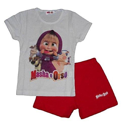 Masha & orso - completo t-shirt bianca e shorts per bambina (6 anni)