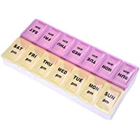 TOOGOO(R) 7 Dia 14 Ranuras Caja de almacenamiento de pastillas Organizador semanal de
