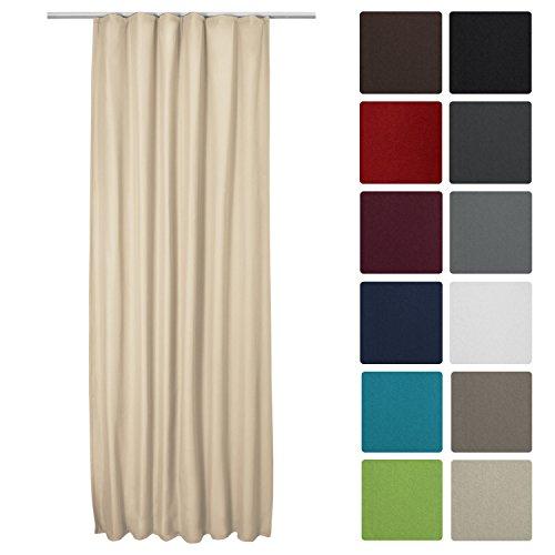 Beautissu Thermovorhang Amelie 140x245 cm Kräuselband Vorhang blickdicht & Verdunkelung - Gardine in Creme-Beige