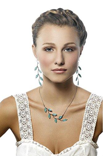 Parure Feuilles en Argent Fin et Fimo - Collier et boucles d'oreilles colorés - Cadeau unique Turquoise