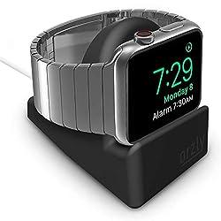 Orzly - Kompakter Ständer für Apple Watch - Nachttischmodus kompatibel - SCHWARZ Ständer mit integriertem Kabelführungsschlitz (38mm & 42mm & 40mm & 44mm kompatibel)