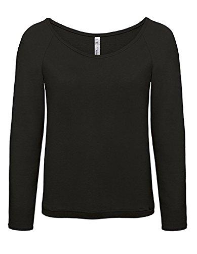 Pullover Femme col large Raglan French Terry Sweatshirt Black