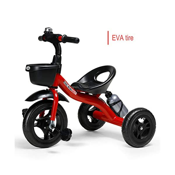 GSDZSY - Adjustable Size Children Kids Tricycle,EVA Tire/Rubber Tire Non-slip And Wear Resistant,easy Installation,Suitable For Children 18 Months - 5 Years Old,Red_EVA GSDZSY ❀ Material: High-carbon steel +ABS+EVA tire / rubber tire ,Suitable for 18 Months to 5 years old Child, Maximum Load 30 kg ❀ Sturdy frame and light weight, the handlebar has a protective sponge cover to protect the child's forehead ❀ Baby tricycle can be quickly Dismantled and Assembled and suitable for Mother installed 1
