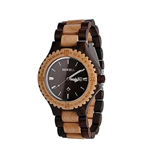 Wooden Watch - Kingwo BEWELL ZS - W023A Wooden Bangle Quartz Watch with Date Display Vintage Light Style for Men