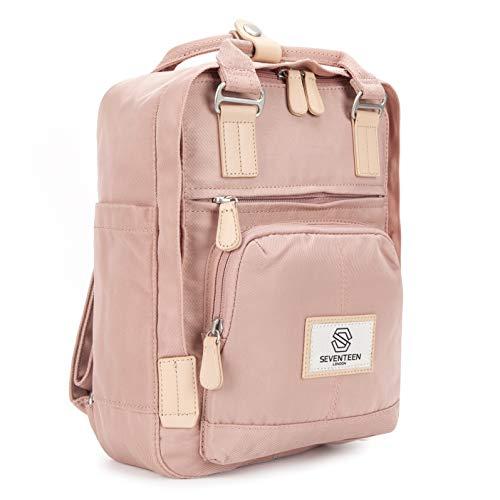SEVENTEEN LONDON - Moderner, einfacher und Unisex 'Hackney Mini' Rucksack in rosa mit einem klassischen Design im Skandi-Stil - perfekt für Tablets