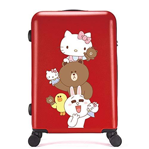 Valigia Per Bambini DXWF Cartone Animato Bambini 20'24'26'pollici Abs-pc Travel Trolley Borse Case Bambini Rotolamento Bagaglio Borsa Da Viaggio Su Ruote 40/25-63cm Rosso
