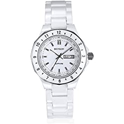 binlunmen 's Keramik Tachymeter Funktion Quarz Armbanduhr mit Way bezel-white Unendliche Rücklaufsperre