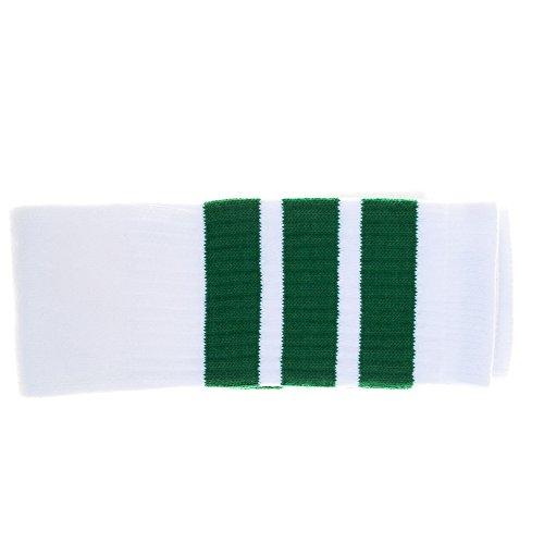 Choobes (Unisex) 22 Zoll Knie hoch Weiße Röhrensocken mit grünen ()