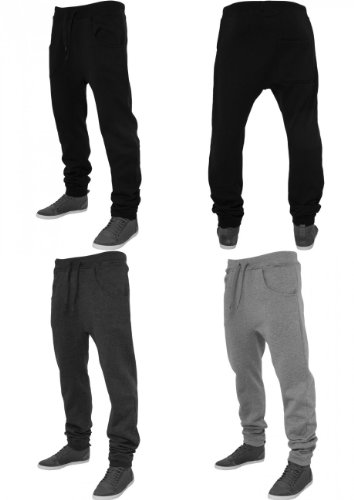 Urban Classics pantaloni da jogging da uomo Deep forcella pantaloni sportivi TB504 Regular Fit Grigio (Charcoal)