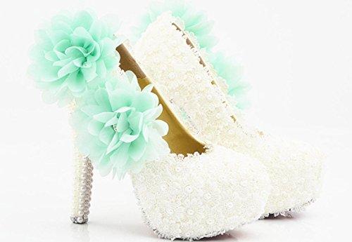 YCMDM Femmes Chaussures De Mariage Talon Etanche Imperméable Blanc Dentelle Bleu Fleur Chaussures De Cristal Chaussures De Mariage Chaussures De Mariage Chaussures De Diamant 5 cm with high reservation