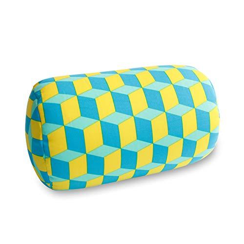 XuBa Weiches Druck-Mikroperlen-Rollkissen fürs Auto, Nackenkissen, Kopf, Bein, Rücken, Nackenrolle Yellow Square