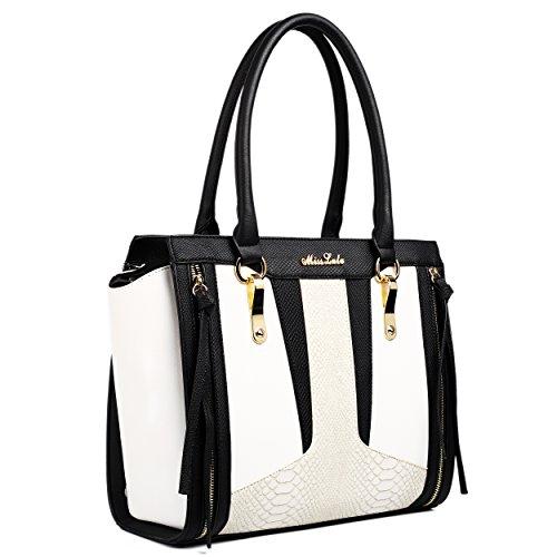 Miss LuLu Damentasche Elegant Handtasche Tote Bag Groß PU-Leder Multifunktion Farbkombination (LT1608-Schwarz/Weiß) LT1608-Schwarz/Weiß