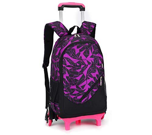 Mit Rädern Versehene Rucksäcke Große Kapazität Business Laptop Rucksack Trolley Schule Gepäck Taschen mit 6 Rädern für Jungen Mädchen Jugendliche Studenten Schulreisen,Pink