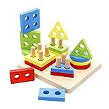 SIPLIV in legno prescolare educativo forma colore puzzle di ordinamento puzzle forme di intelligenza che corrispondono a blocchi impilabili giocattoli puzzle per bambino