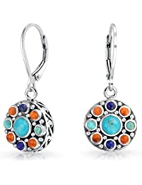 Lapis Synthetic Turquoise Red Coral Dangle Earrings Silver