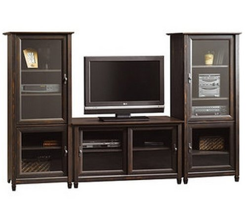 brown-entertainment-center-flat-screen-tv-stand-matching-media-towers-storage-cabinets-vintage-antiq