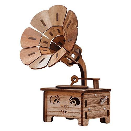 RTDUKYT Vintage Holz Spieluhr Retro Gramophon Trompete Modell Musik Handwerk Ornamente Rekord Spieler Kunst Cafe Bar Dekoration Geschenke
