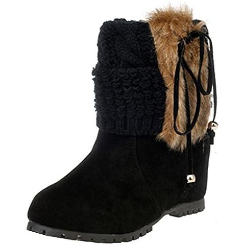 Minetom Mujer Invierno Moda Botines Conejo Pelaje Cuña Zapatos De Plataforma Calentar Botas De