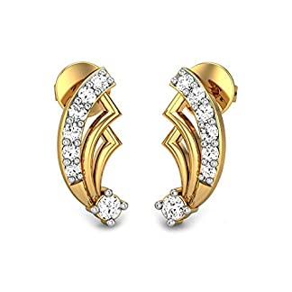 Candere By Kalyan Jewellers Jovie 14k Yellow Gold and Diamond Stud Earrings