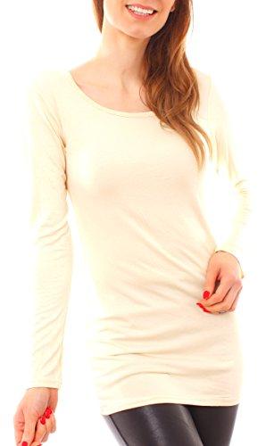Easy Young Fashion Damen Langarm Basic Longshirt Rundhals Uni Vanillegelb