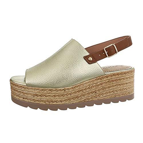 Gold-strap Sandalen (Ital-Design Damenschuhe Sandalen & Sandaletten Keilsandaletten Synthetik Gold Braun Gr. 38)