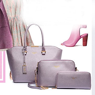 La donna pu Shell Borsa a tracolla / Tote - Rosa / blu / rosso / nero,Nero Blushing Pink