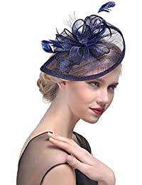 99fdcfaa JasmineLi Sinamay Fascinator Hat Tea Party Hats Pillbox Hat Derby Hat for  Women