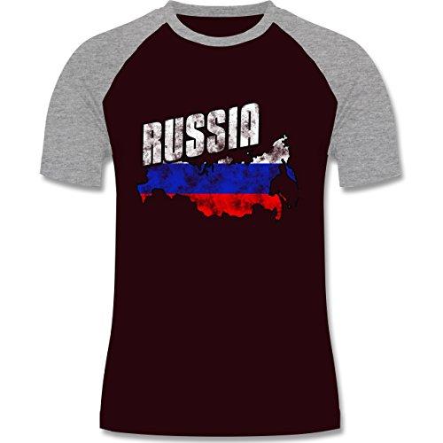 EM 2016 - Frankreich - Russia Umriss Vintage - zweifarbiges Baseballshirt für Männer Burgundrot/Grau meliert