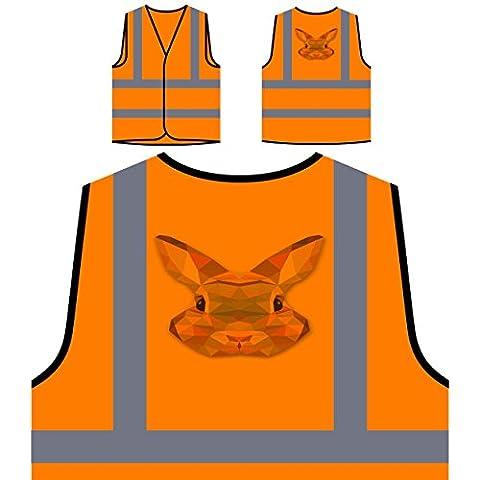 Origami Bunny Water Colours Novelty Personalized Hi Visibility Orange Safety Jacket Vest Waistcoat o58vo